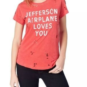 "Jefferson Airplane loves you"" L distressed Lucky"